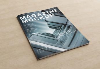 Magazine Cover on Wooden Desk Mockup