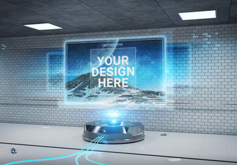 Holographic Billboard Screen Projector Mockup