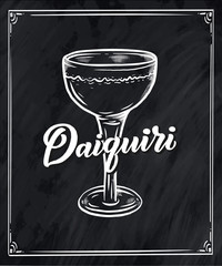 Lettering name of cocktail with glass. Template for card banner and poster for bar menu and restaurant
