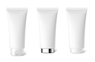 Realistic cosmetic tubes on white background. Can be used for cosmetic, medical, gels, creams, shampoo and pastes. Vector illustration. EPS10.