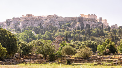Panorama of the Agora overlooking famous Acropolis hill, Athens