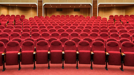 Panorama of the modern movie theater interior
