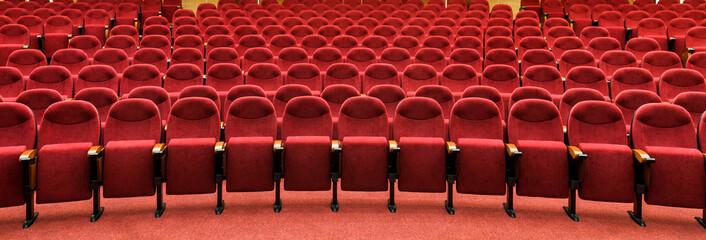 Panoramic view of an empty cinema hall