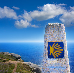 End of Saint James Way sign of Finisterre in Galicia
