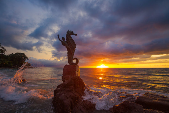 Escultura del Caballito de Mar Olas Altas