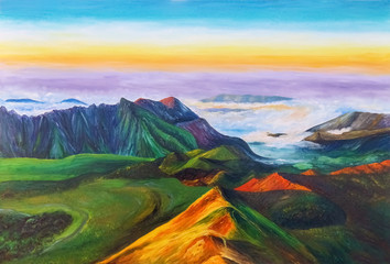A beautiful mountain landscape with mountain ranges and clouds covering the plain. Oil Painting.