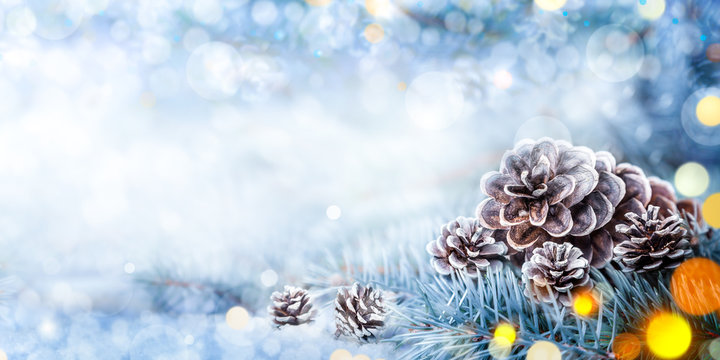 Christmas Decoration - Snowy Pine Cones On Spruce Branch With Lights