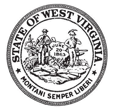 The Seal of the State of West Virginia, vintage illustration
