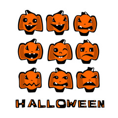 Set of Halloween pumpkins with different emotions in a cartoonish, comic style