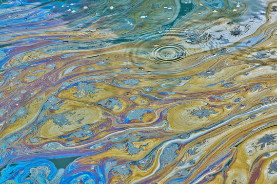 An environmental concern in a Texas bayou as a film of colorful oily pollutants cover the rippling, stagnant water. This can be the result of illegal dumping or factory runoff.