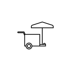 bench on wheels icon. Element of fast food for mobile concept and web apps icon. Thin line icon for website design and development, app development