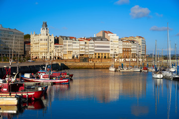 La Coruna port marina in Galicia Spain