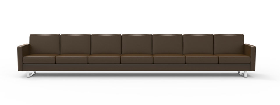 Extremely long brown leather sofa isolated on white background. 3d rendering