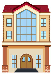 A flat building on white background