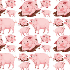 Pig in mud seamless pattern