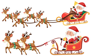 Santa riding sleigh on white background