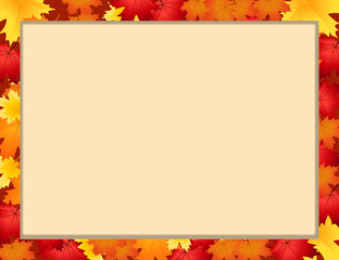 Vector photo frame with fallen autumn maple leaves with copy space