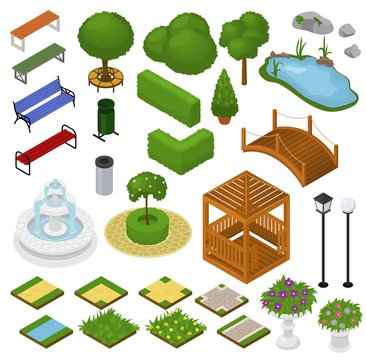 Park vector parkland with green garden trees grass and fountain or pond in city illustration set of isometric parkway in cityscape or landscape isolated on white background