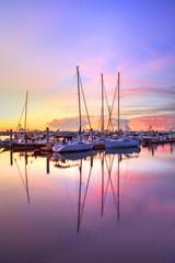 Fotobehang Napels Sunrise over a quiet harbor in old Naples, Florida