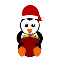 Christmas penguin holding a present bag