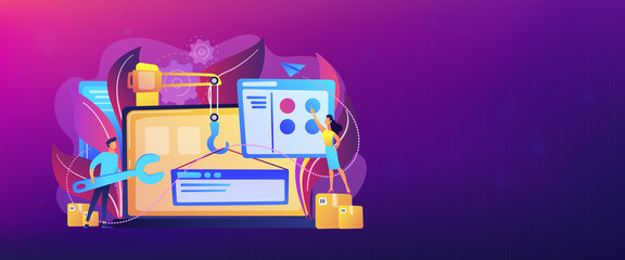 It professionals are creating web site on the laptop screen. Website development or web application, coding, designing for web browsers concept. Violet palette. Header or footer banner template.