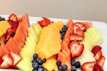 Fresh fruit platter including watermelon, cantaloupe, honeydew melon