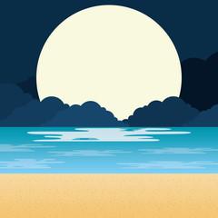 beach landscape at night scene