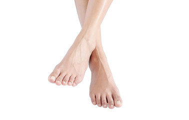 Beautiful female legs and feet on a white background.Concept beauty and hydration of the skin.