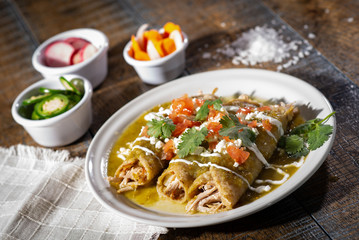 Plate of Mexican Green Enchiladas