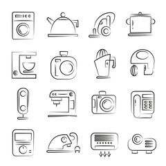 hand drawn electronic device and home appliance icon set