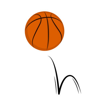 Isolated basketball ball with a bounce effect