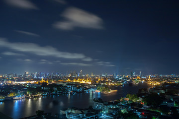 Chao Phraya River, Bangkok at night, overlooking the Grand Palace.