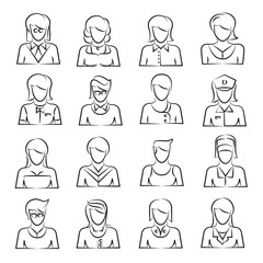 hand drawn women icon set
