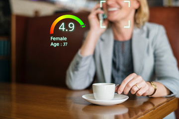 Social credit score concept, AI analytics identify person technology, Intelligent rating, reputation.
