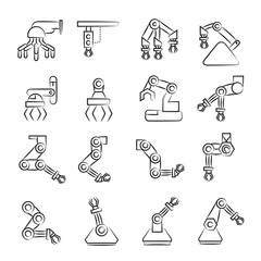hand drawn industrial robot icon set