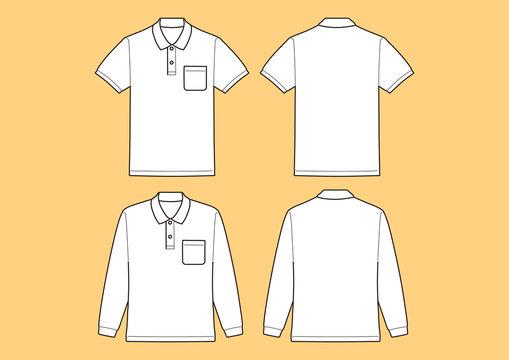 ポロシャツ半袖、長袖 テンプレート、ベクター