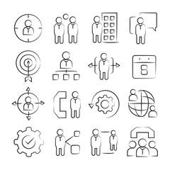 hand drawn business management concept icon set