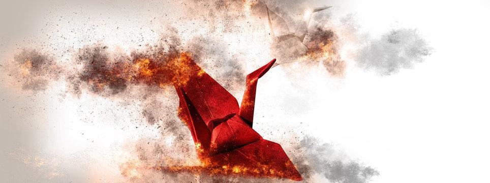紅白の折鶴