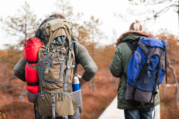 Hiking in forest. Camp, adventure, traveling concept.