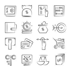hand drawn finance icon set