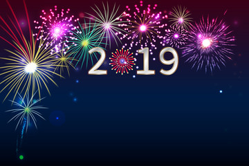 New Year 2019, fireworks background with space for text. illustration vector.