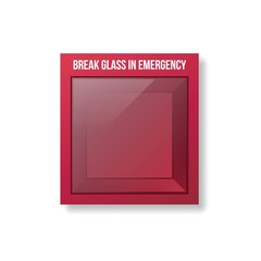 Empty Emergency Box. Red box with glass front.