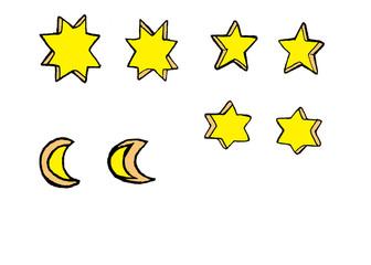 カボチャに乗せよう!お目目用、月と星のセット