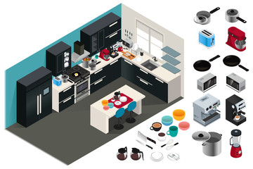 Isometric Kitchen Appliances Illustration