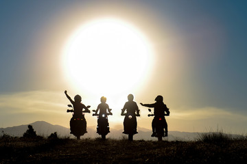 Spectacular cruise and sunrise views with crowded motorcycle team