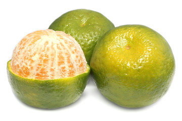 Fresh green orange fruits