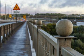 The railing ofThe railing of the bridge, the river Oka the bridge, the river Oka