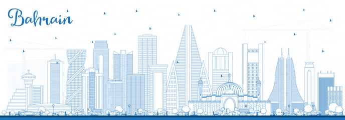 Outline Bahrain City Skyline with Blue Buildings.