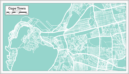 Cape Town South Africa City Map in Retro Style. Outline Map.