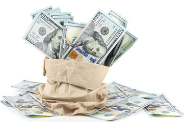 One hundred dollars in paper bag